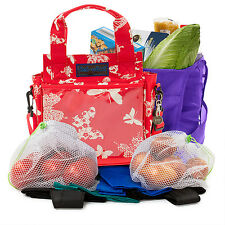 ECO2 trolley-dolly KIT SHOPPING - 8 BAGS IN 1-Farfalla Rosso / Crema