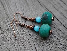 Tibetan Teal Agate with red copper Earrings Boho Festival