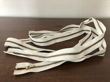 "70"" Vtg Metal Gold & White Zipper Long Jacket Zipper"