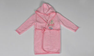 Umbrella Bear Embroidered Baby Bathrobe in pink for Girls