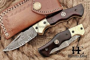 HUNTEX Custom Handmade Damascus 110 mm Long Buffalo Horn Hunting Pocket Knife