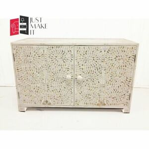 Bone Inlay sideboard White Floral Design (MADE TO ORDER)