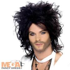 Sex God Black Wig Popstar Celebrity Rockstar Fancy Dress Costume Mens Accessory