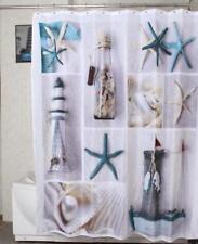 Shower Curtain Nautical Beach Lighthouse Starfish Shells Bathroom Decor Gift NEW