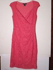 RALPH LAUREN sz.10 womans coral sequinn lace over knit side gather dress-$13.40
