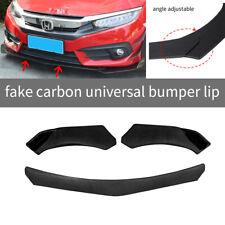 3pcs Carbon Fiber Look Front Bumper Lip Splitter Spoiler Universal Adjustable