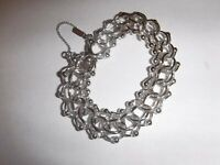 Vintage MONET Starter Charm Bracelet Silver-tone Triple Link Safety Chain