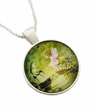 Fairy Princess Frog Domed Glass Cabochon Pendant Sterling Silver Chain Necklace