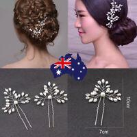 2Pcs Stunning Crystal Pearl Bridal Hair Pins Clips Hairpins Accessories Wedding