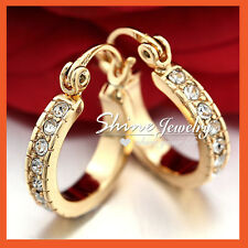 18K CHAMPAGNE GOLD GF SOLID MENS WOMENS CRYSTAL BAND HINGED ROUND HOOP EARRINGS