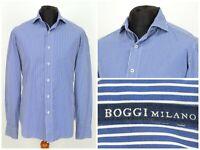 Mens Boggi Milano Long Sleeve Shirt Blue Striped Sartoria Size L