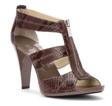 Michael Kors Berkley 8 M Cinder T Strap Snake Leather Open Front Zip Sandals