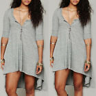 Womens Casual Long Sleeve V-Neck Oversize Loose Cotton T Shirt Tops Blouse Dress