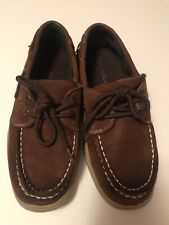Sperry Top Sider Intrepid Boys Cigar Brown Leather Boat Shoes Youth Size 2