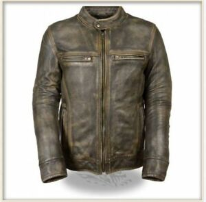 Men's Brown Distressed Scooter Jacket w/ Venting-ALL Sizes Available-
