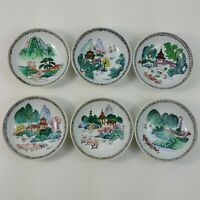"""Set of 6 Vintage Asian Hand Painted Mini 3 7/8"""" Wall Hanging Bowls Home Decor"""