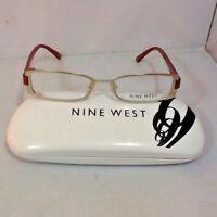 Nine West Women's Eyeglass Frames Hard Case Satin Light Gold Orange Legs New