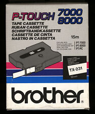 "1x BROTHER TX-231 P-touch 12mm 1/2"" Farbband BLACK / WHITE > PT7000, 8000, PT-PC"