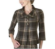 New-Size 8-Isaac Mizrahi for target-Women Swing Jacket-Brown Plaid-3/4 Sleeve