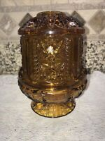 Vintage Indiana Amber Glass Fairy Lamp Light  Stars and Bars Candle Holder NICE