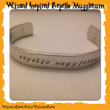 Handmade Harry Potter Inspired Repello Muggletum Hand Stamped Cuff Gift Geeky