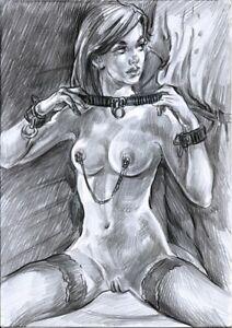 BDSM,  Pencil, Original Erotic Drawing by Gosha