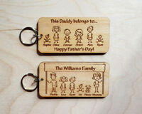 Personalised Father's Day Gift Engraved Wooden Keyring Family Daddy Dad Grandad