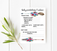 10 White Baby Shower Baby Predictions and Advice Cards PRINTED cards Arrow  BOHO