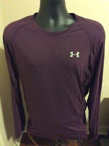 Under Armour Heat Gear Run T-Shirt Long Sleeve Fitted Men's 2XL Purple