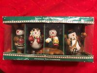 Package of 4 Sakura By  Debbie Mumm Snow Angel Village Christmas Ornaments