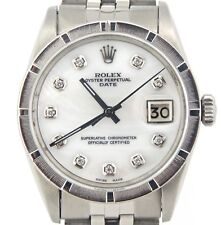 Mens Rolex Date Stainless Steel Watch Jubilee Band White MOP Diamond Dial 1501