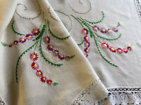 VINTAGE HAND EMBROIDERED Cream LINEN WHITE LACE TABLECLOTH 46X46 Inches