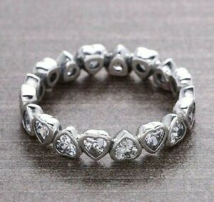 GENUINE SILVER 925 SPARKLING HEART HEARTS STACKING BAND RING SIZE 60 SALE PRICE