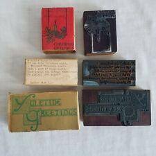 3 Vintage Christmas Letterpress Printing Blocks Amp Sleeves Seasons Greetings Cand
