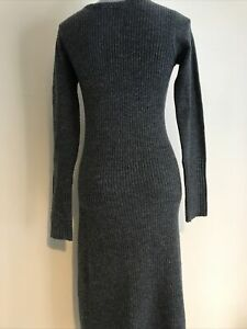 Ladies Charcoal Grey Midi Length Long Sleeve Jumper Dress By Very Size 8