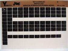 Yamaha FJ1200 1990 FJ1200A FJ1200AC Parts List Manual Microfiche n75