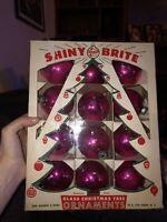12 Vintage Shiny Brite Christmas Tree Balls in Original Box ORNAMENTS