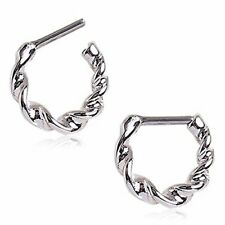 """Septum Clicker Ring Twisted 316L Surgical Steel 16G 1/4"""" 6mm"""