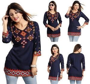 TOP WOMEN SHORT DRESS PRINTED INDIAN KURTI TOP TUNIC 3/4 SLEEVES MI521 BLUE