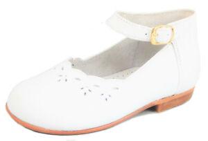 DE OSU - Baby Girls' White Leather Dress Shoes - European - US size 6