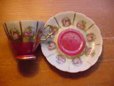 """Vintage """"Saji"""" Fine China Cup and Saucer, Red,No. 5381C, Made in Japan"""