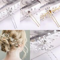 Fashion Crystal Pearl Flower Hair Pin Stick Bridal Wedding Accessories Jewelry