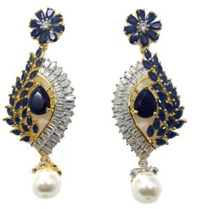 Cubic Zirconia Pears Pearl Hang Gorgeous Designer CZ Earrings Gold Silver Plated