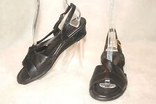 FANFARE Comfort First ~ Black Wedfe Sandals Sz 6.5 W * EXCELLENT COND.