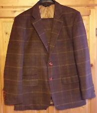 Herren Braun Overcheck Plaid kariert britischer Tweed Anzug Original England NEU