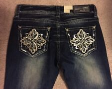 Grace in LA Women's Bling flower Pocket Easy Fit Bootcut Jeans