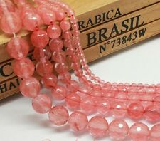 NATURAL CHERRY QUARTZ  LOOSE GEMSTONE FACETED STONE JEWELLERY MAKING BEADS 10 mm