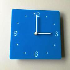 Square Bright Blue &White Clock (white Backed) white Hands Silent Sweep Movement
