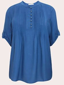 Woman Within NEW PETROL Pintuck Roll Sleeve Georgette Shirt SIZES 22/24 to 30/32