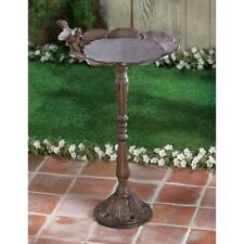 "19"" High Bronze Finish Cast Iron Bird Bath Outdoor Yard Garden Patio Decor"